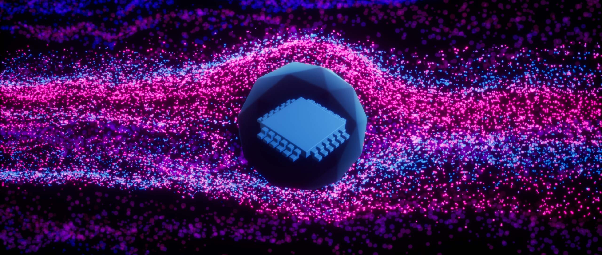 An illustration showing pink and purple particles flowing around a geometric computer chip.