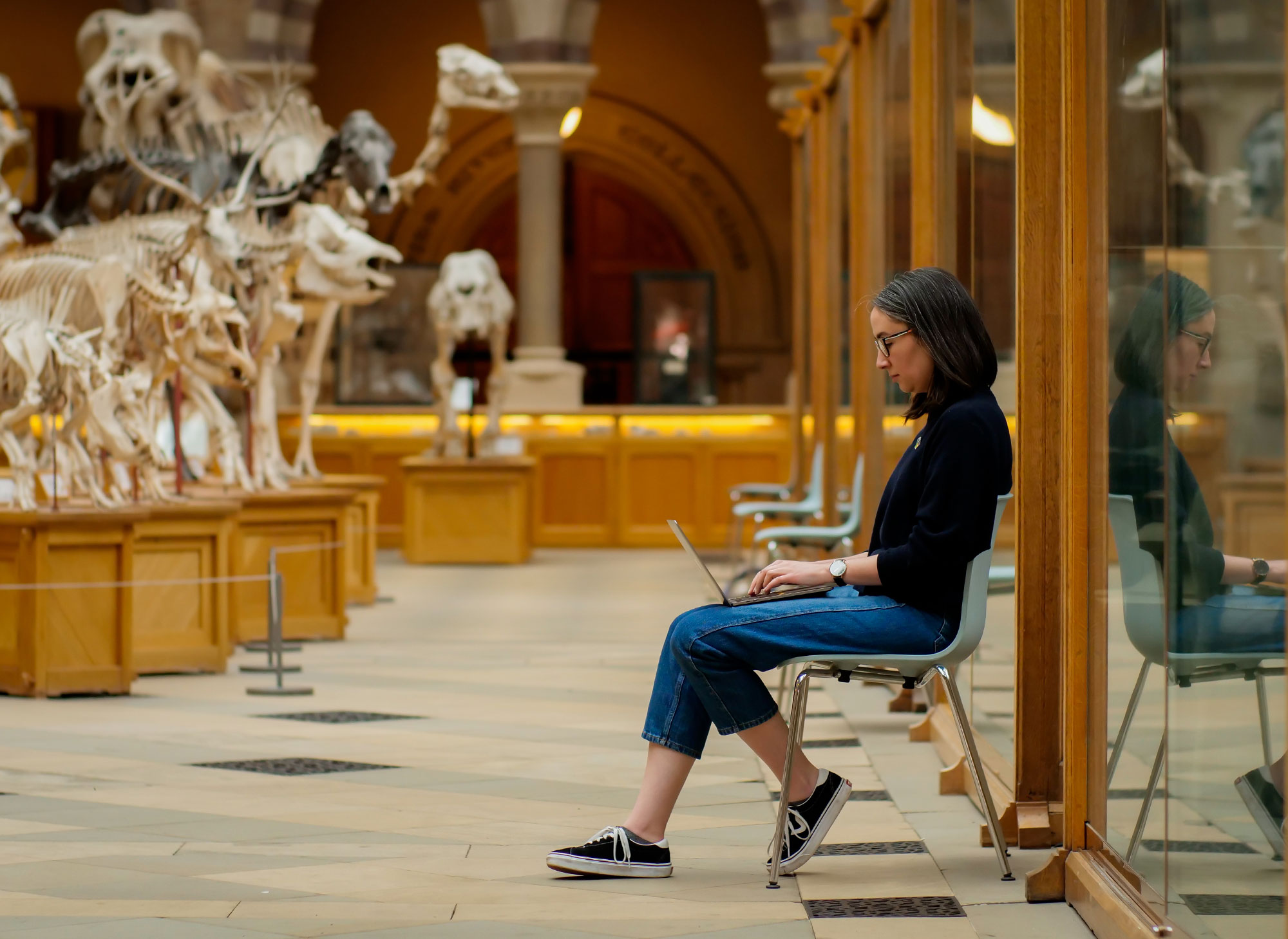 A woman working on a laptop at a natural history museum with animal skeletons in the background.
