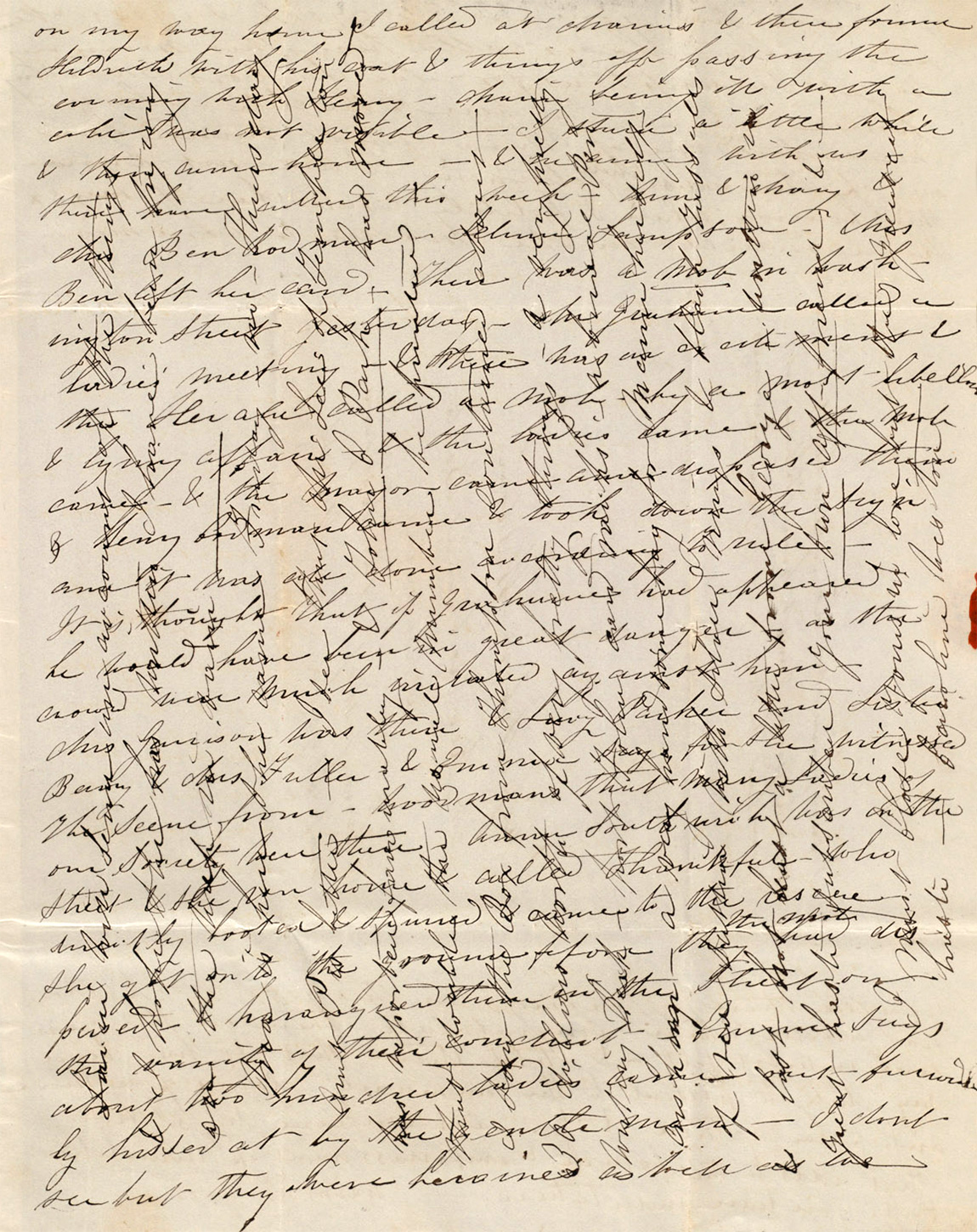 Photo of handwritten letter from 1837, with cursive writing extending both horizontally and vertically on the page.