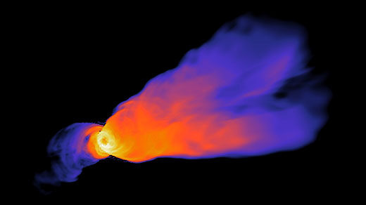 An animation of a glowing conical beam