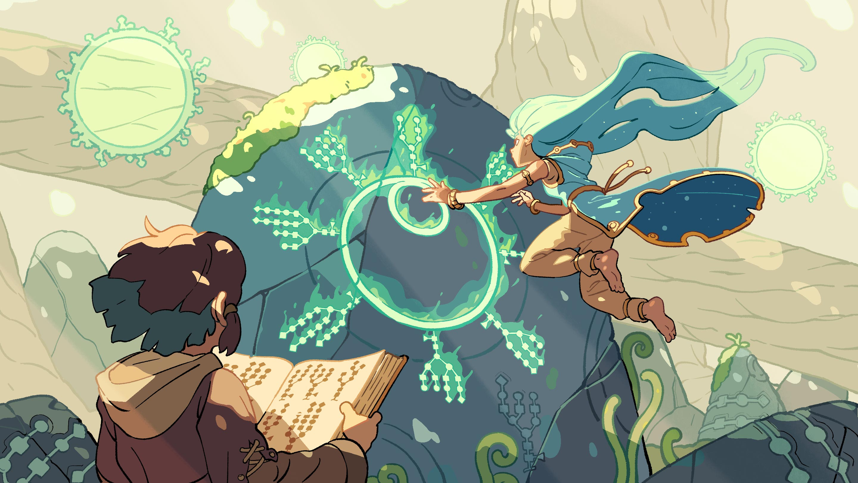 Illustrated scene showing characters reading glycan-shaped runes on a mystical sculpture shaped like a cell.