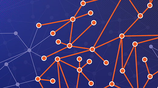 Illustration showing a graph against a purple background, with certain vertices and edges highlighted in orange.
