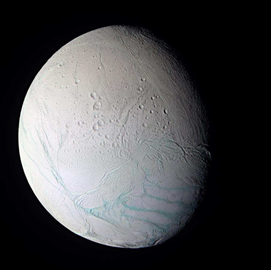 A white moon Enceladus with a geyser.