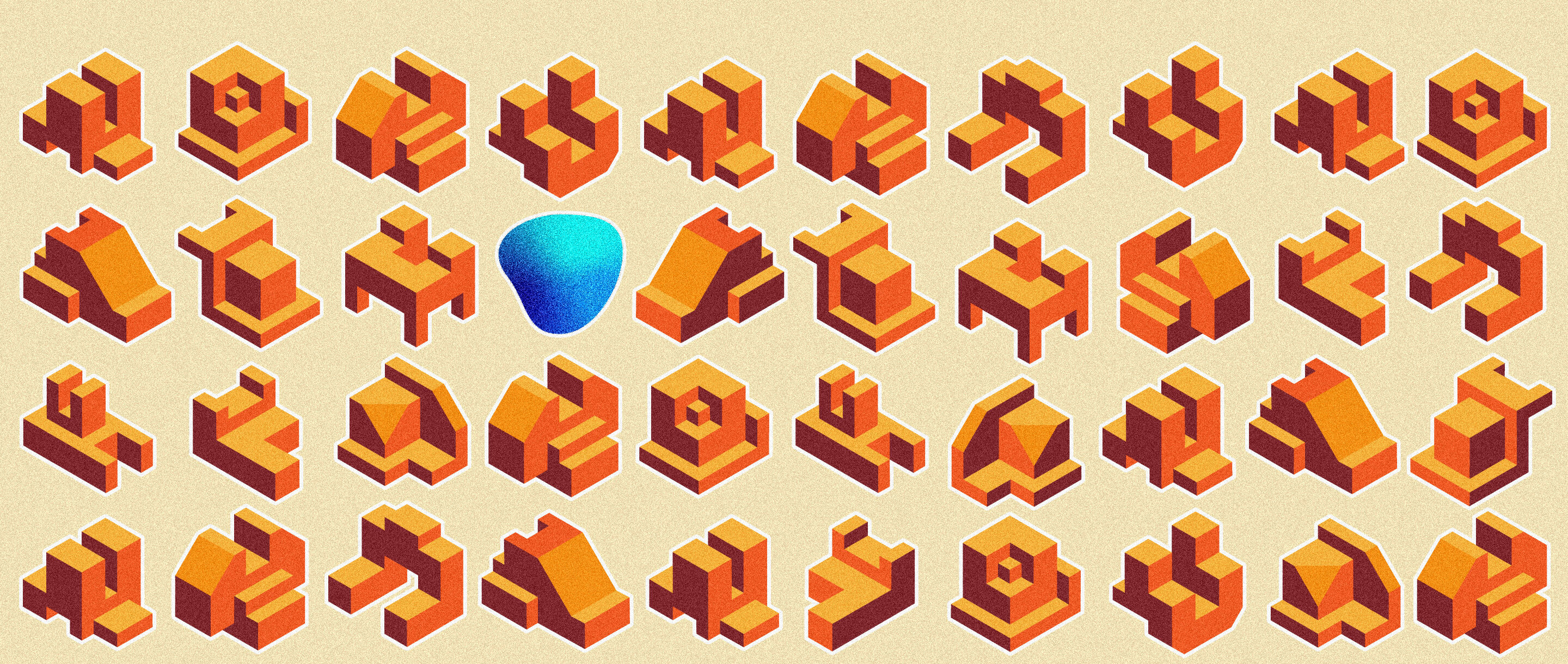 An array of blocky orange objects of all different shapes, with a single blue blob in one of the rows and columns.