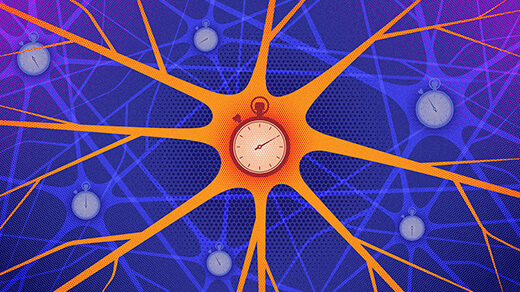 An illustration of a network of neurons, each one equipped with its own stopwatch.