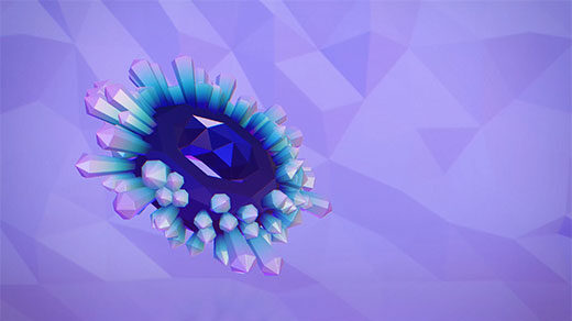 Animation of a gemstone flipping up and down between mirror-image states.