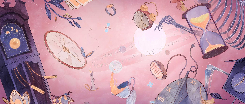Illustration of various kinds of clocks floating against a pink background.
