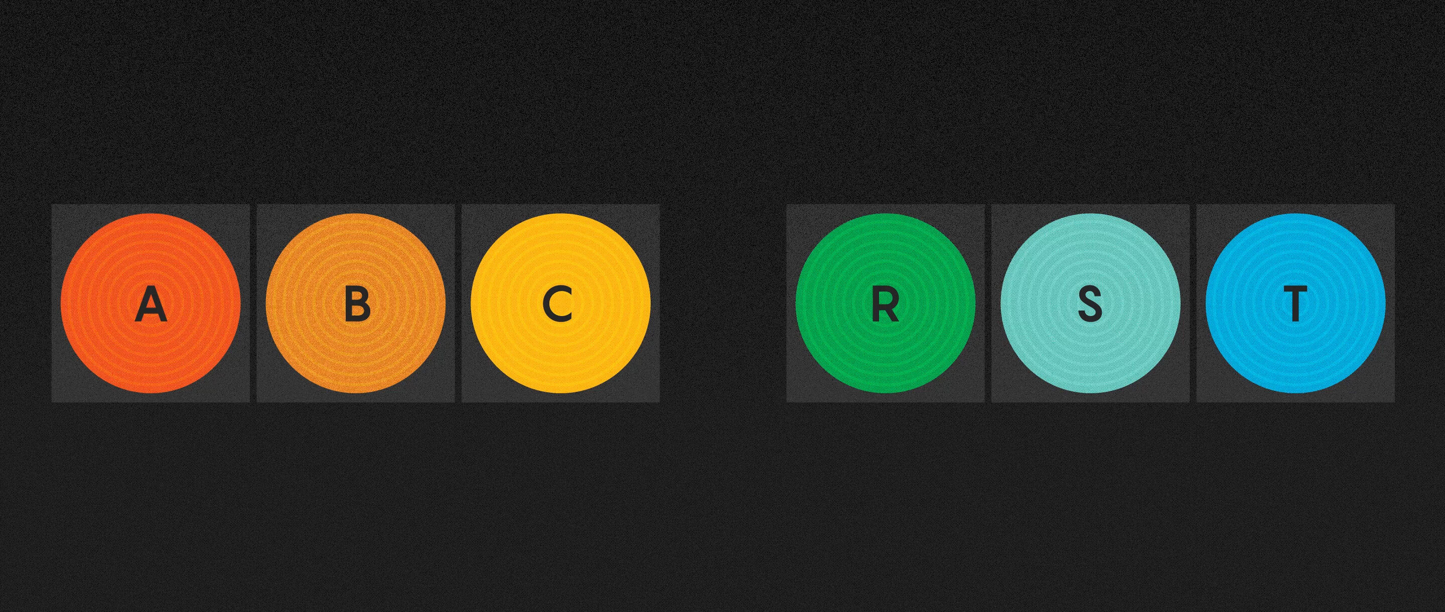Animated illustration showing multiple permutations of colorful letters