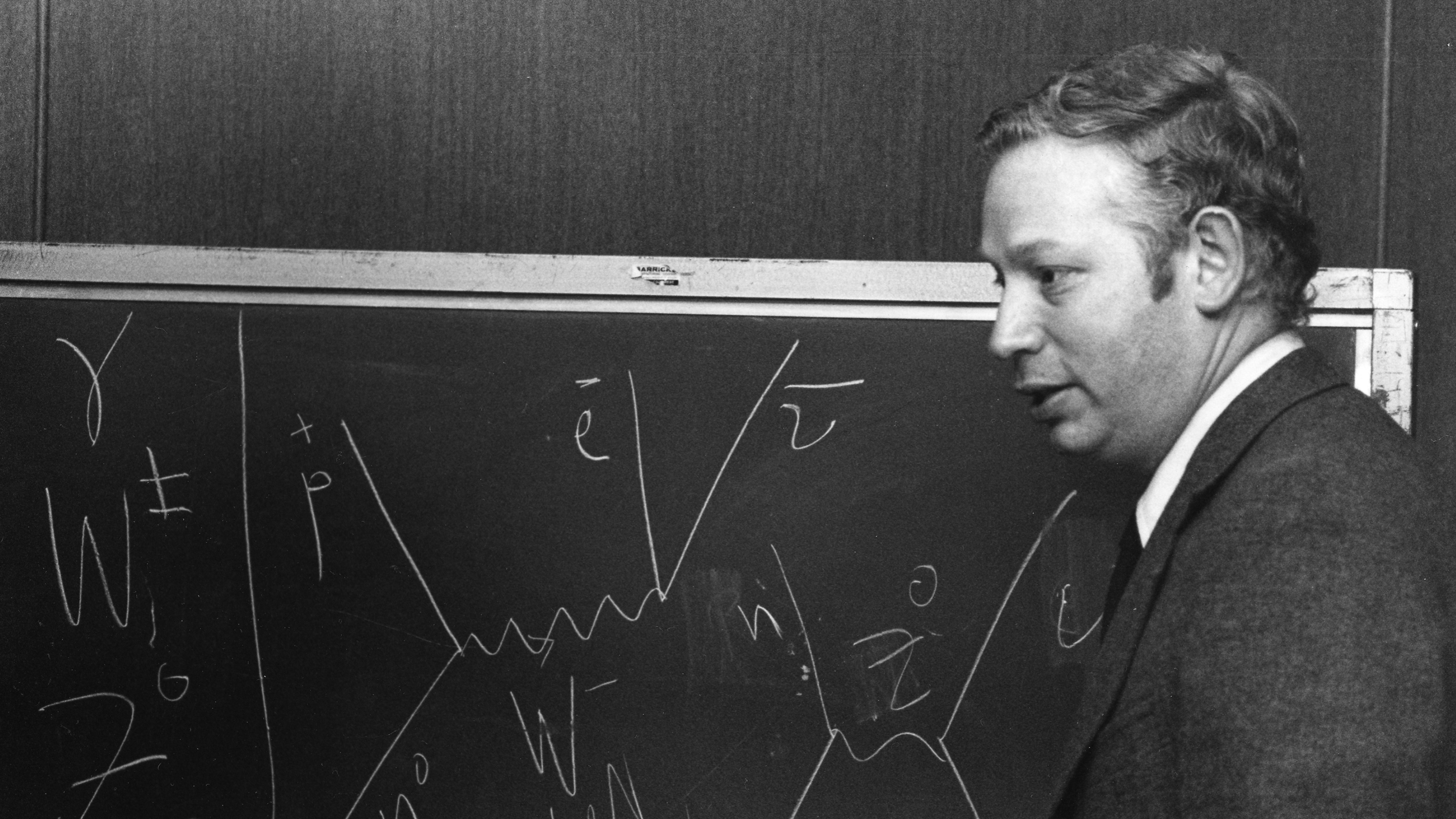 Black and white photo of Steven Weinberg in front of a chalkboard showing particle interactions