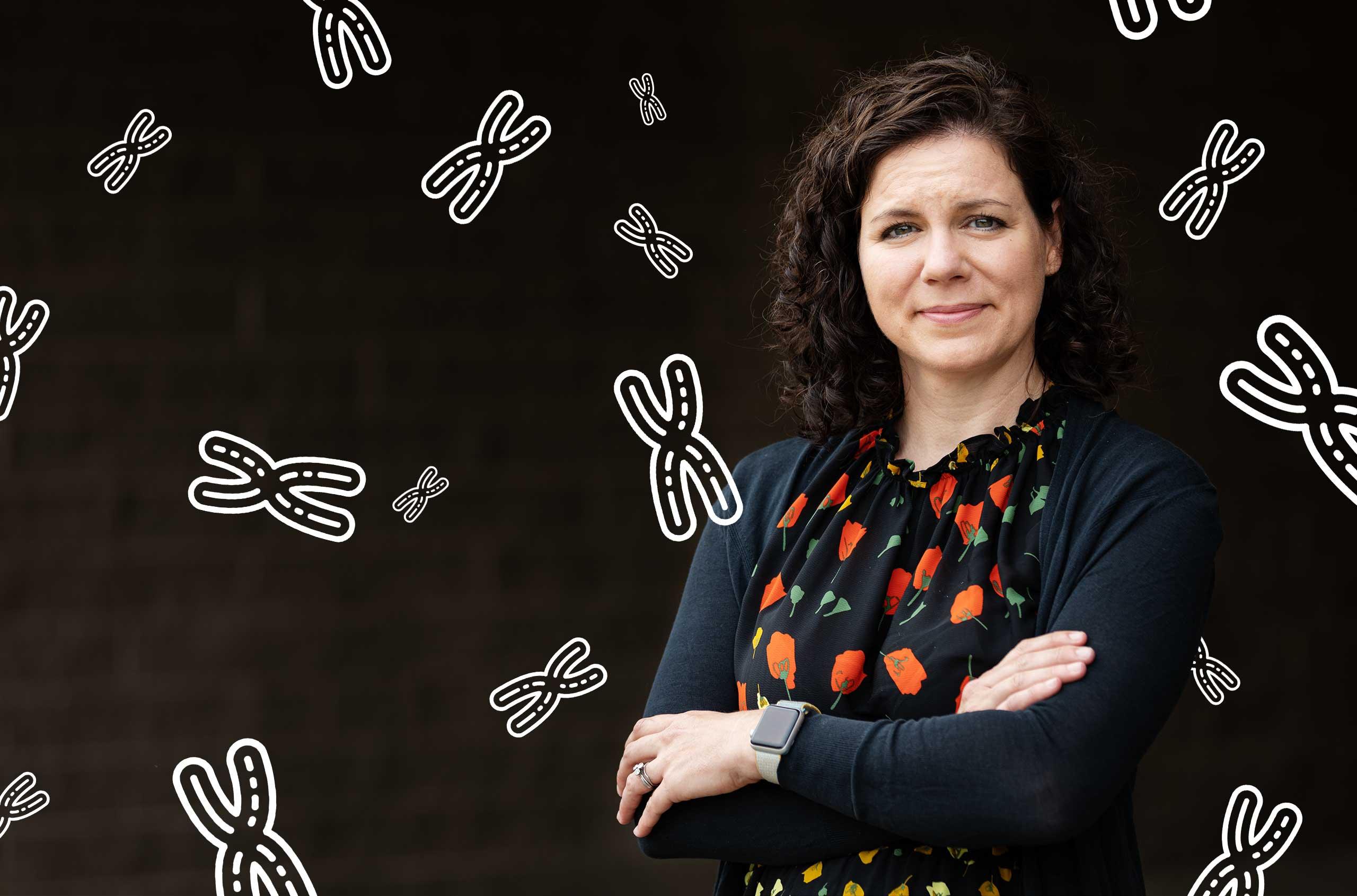 Photo of Karen Miga of the University of California, Santa Cruz, with a representation of chromosomes in the background.