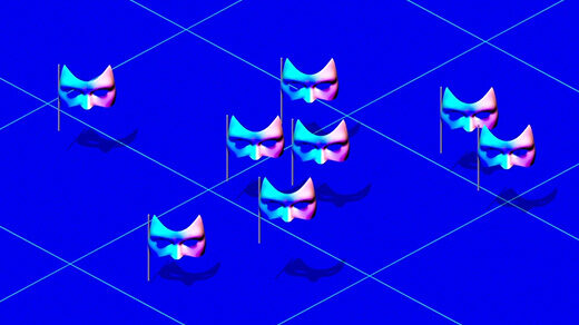 A video of masks swirling around.