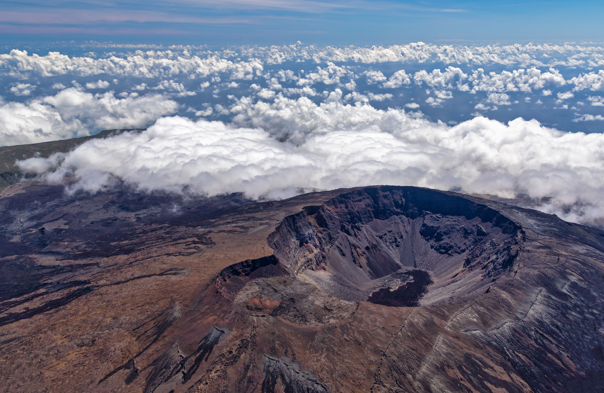 Aerial view of a volcano.