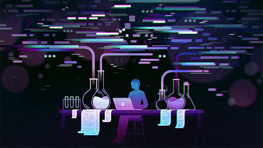 Illustration of a figure working on a laptop surrounded by flasks and liquids evaporating into discrete shapes in the air.
