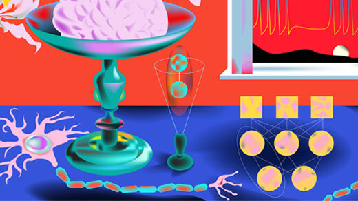 an artistic representation of a brain in a dish on a blue table with enlarged neurons and a neural network, against a red background with a signal of neural bursts